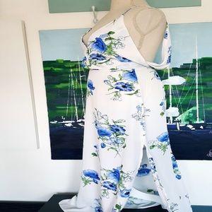Lush Dresses - Lush white and floral blue dress